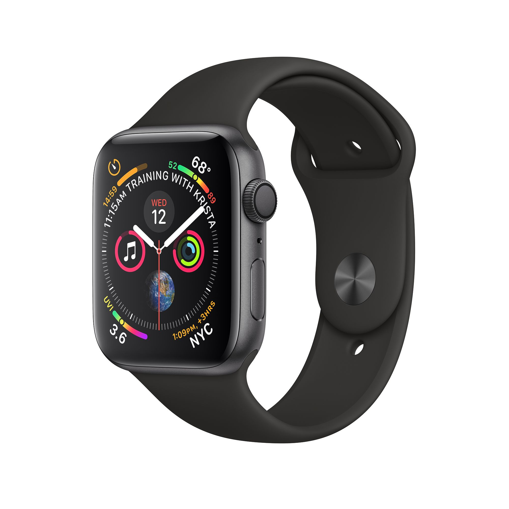 Apple Watch Series 4 (GPS) 44mm Space Gray Aluminum Case with Black Sport Band