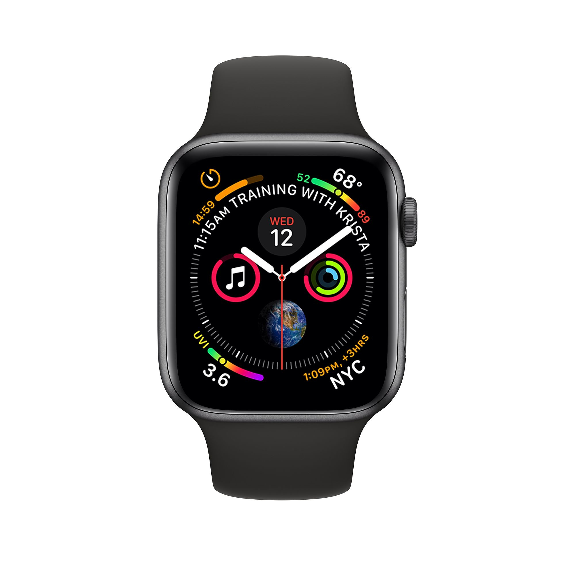 Apple Watch Series 4 (GPS) 40mm Space Gray Aluminum Case with Black Sport Band